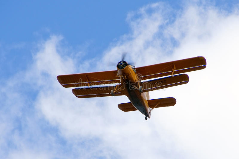 Biplane aircraft. A old biplane aircraft used to transport people and merchandise to the gold mines in the Amazon stock photography