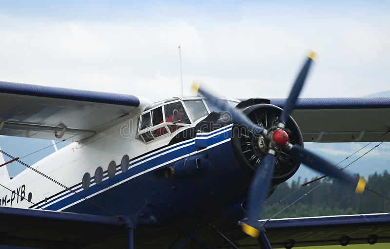 Biplane Antonov AN2. Exhibition Historical airplane Antonov An-2 from Russia stock image