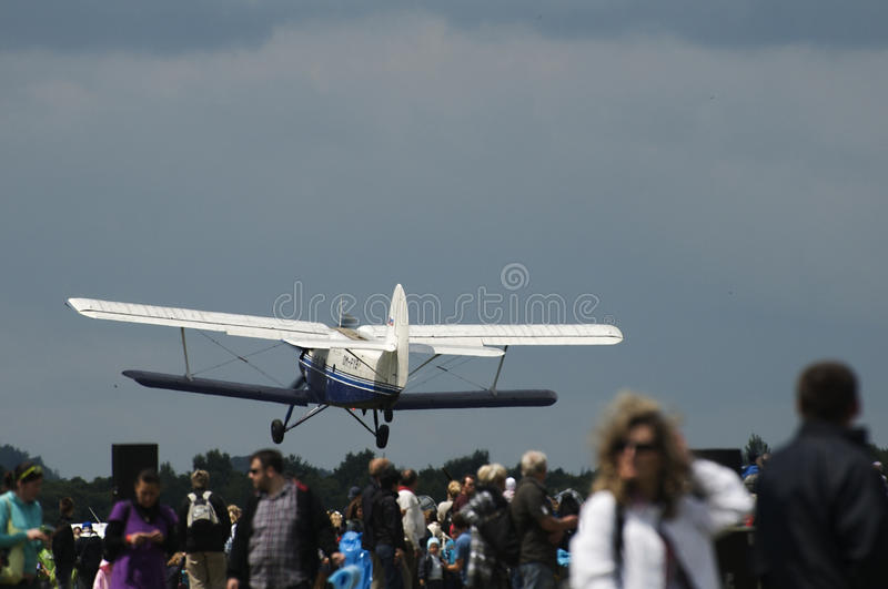 Biplane Antonov AN2 to airshow. Exhibition Historical airplane Antonov An-2 from Russia stock photo