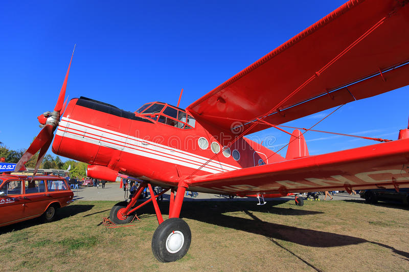 Biplane Antonov An-2. At the exhibition royalty free stock image