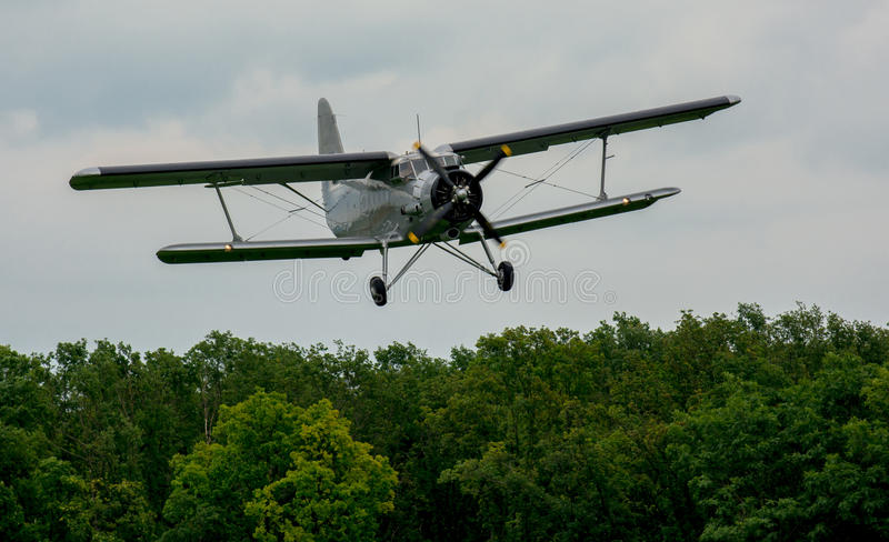 Biplane Approach. Vintage Biplane Approach For A Landing stock photo
