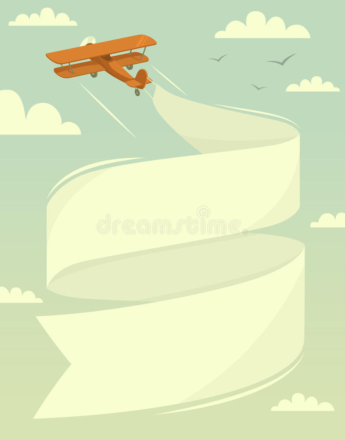 Biplane with banner vector illustration
