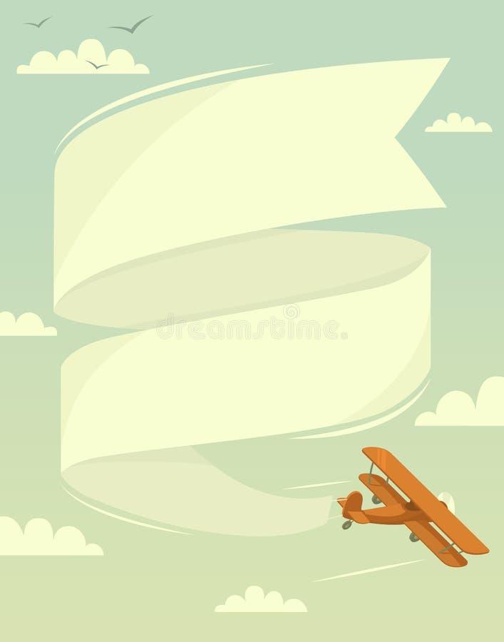 Biplane with banner. Vector illustration vector illustration