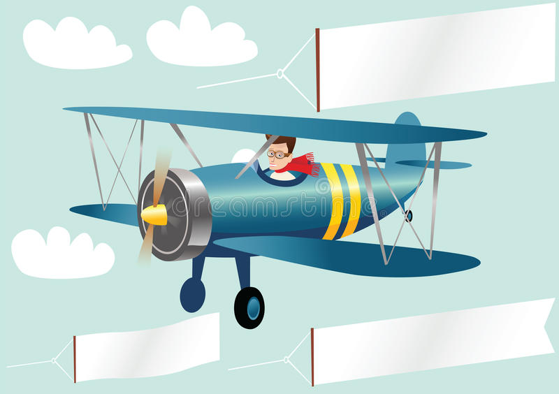 Biplane and banners. A pilot flying an old fashioned biplane, plus blank banners for your own messages. E.P.S. 10 vector file included with image, isolated on stock illustration