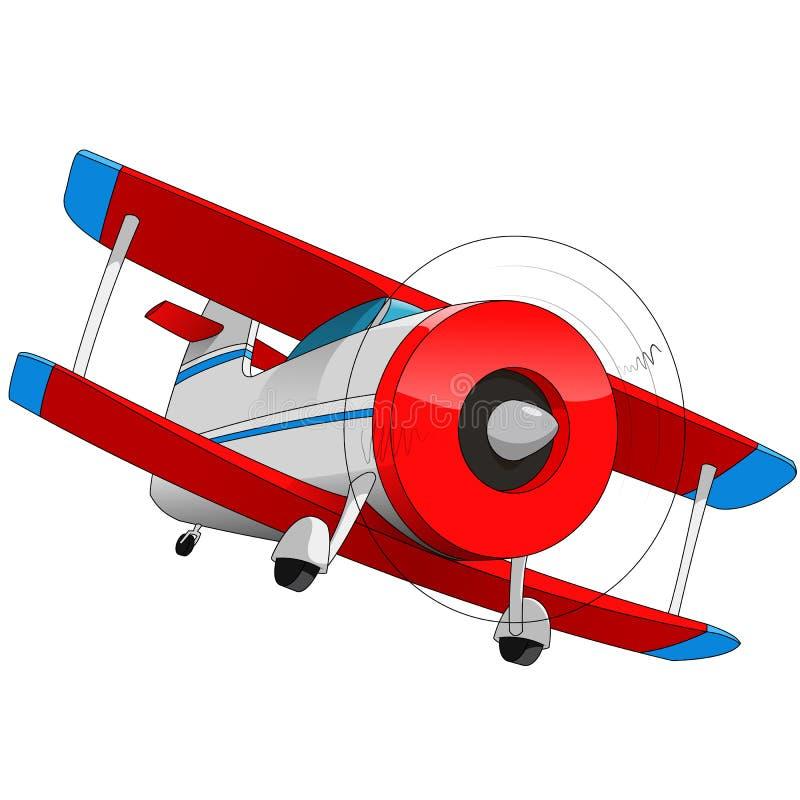 Biplane. Cartoon illustration of biplane aircraft vector illustration