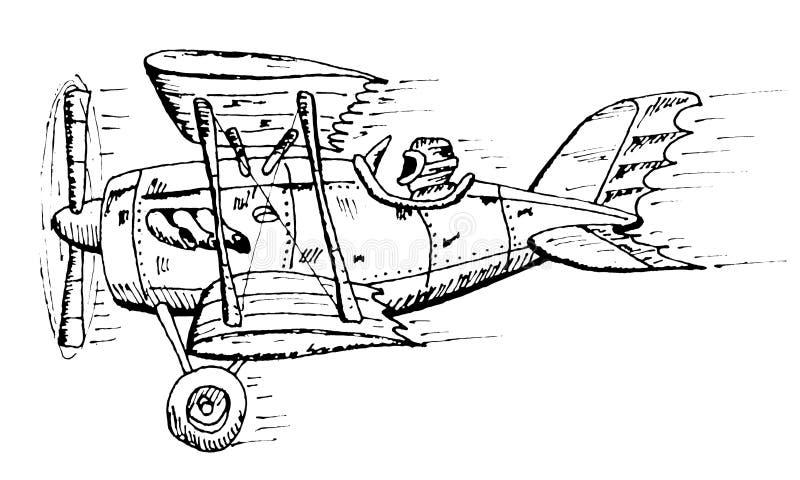 Biplane cartoon. Vector hand draw doodle sketch biplane cartoon stock illustration