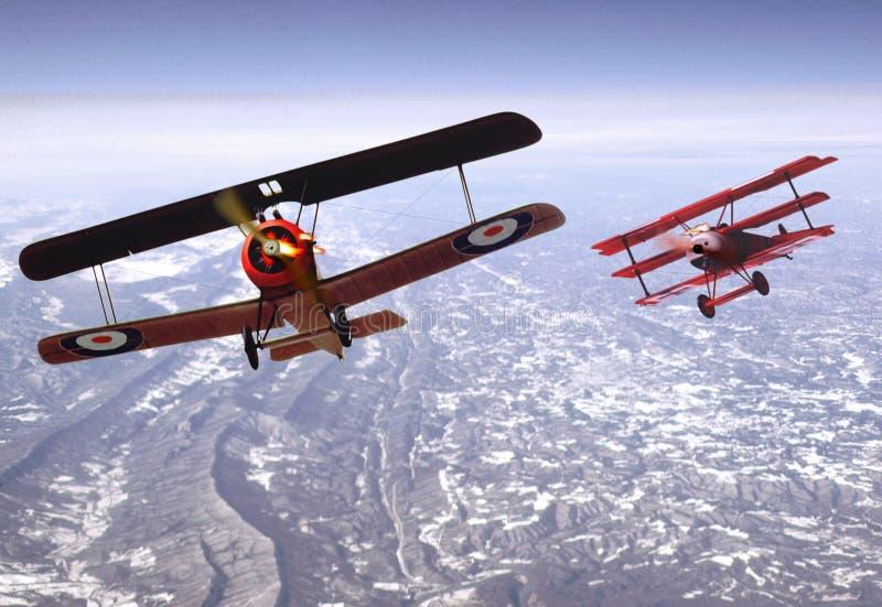 Biplane Dogfight royalty free stock photos