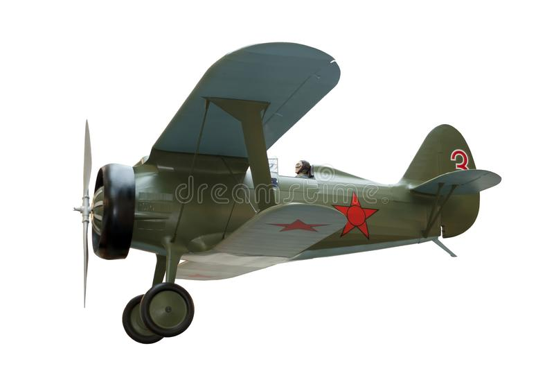 Biplane fighter aircraft isolated stock photo