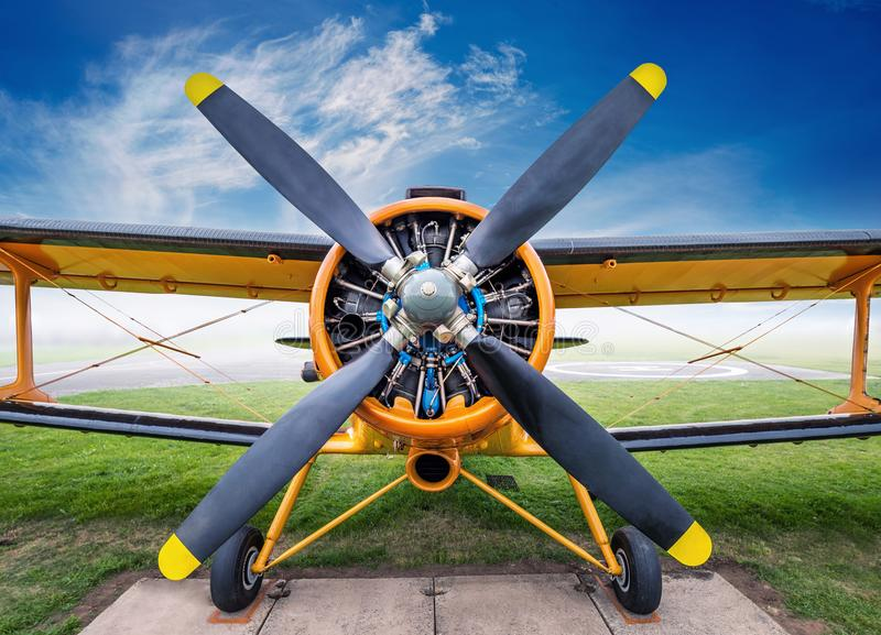 Biplane. Front view of an historic biplane royalty free stock image