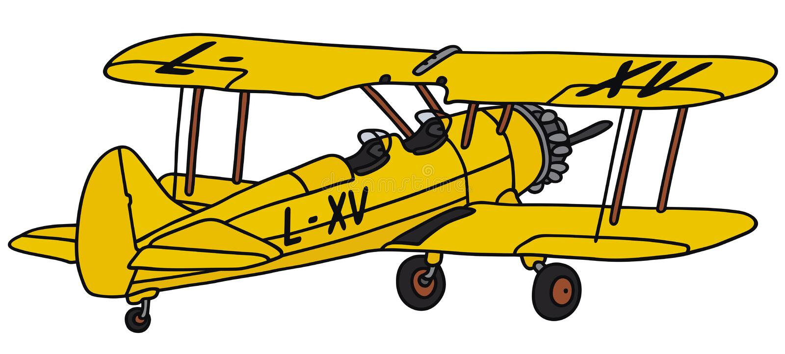 Biplane. Hand drawing of a biplane - not a real type vector illustration