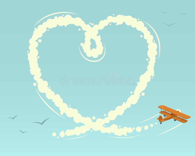 Download Biplane with heart shape stock vector. Image of letter - 34381502