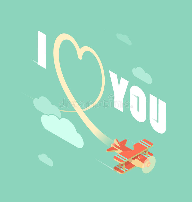 Biplane with I love you vector illustration
