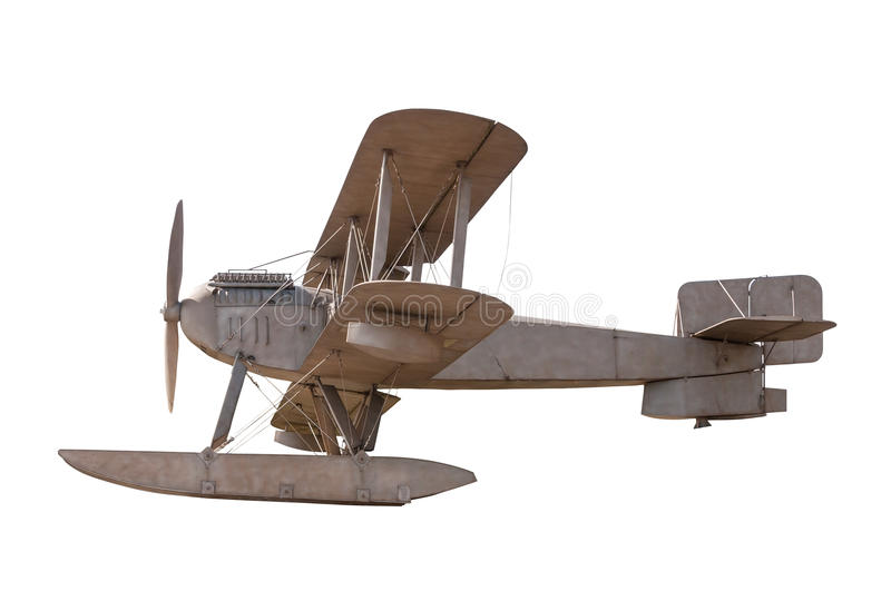 Biplane isolated on white background. With clipping path royalty free stock image