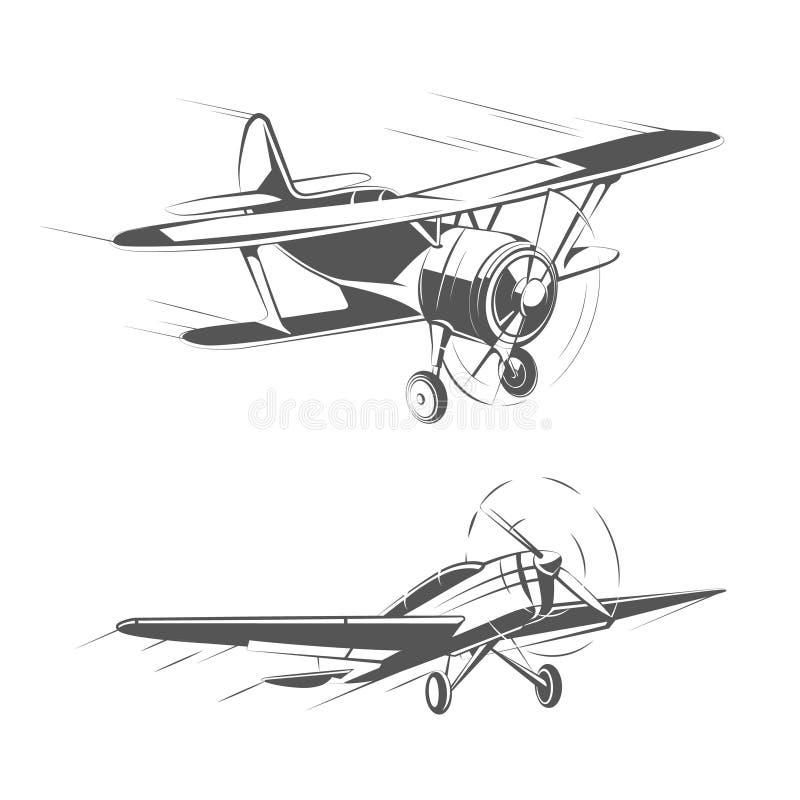 Biplane and monoplane aircrafts for vintage emblems, badges logos vector set. Biplane and monoplane aircrafts for vintage emblems, badges and logos vector set vector illustration