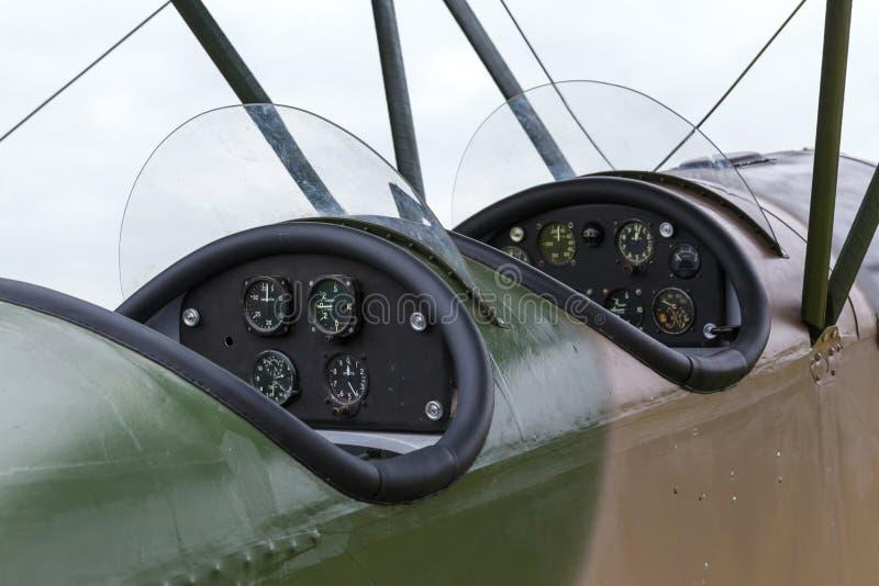 Biplane Polikarpov Po-2, aircraft WW2. Cockpit biplane Polikarpov Po-2, the aircraft WW2 stock photo