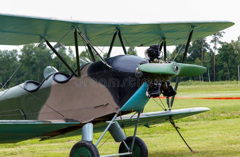 Biplane Polikarpov Po-2, aircraft WW2. Biplane Polikarpov Po-2 on ground, the aircraft WW2 stock photography