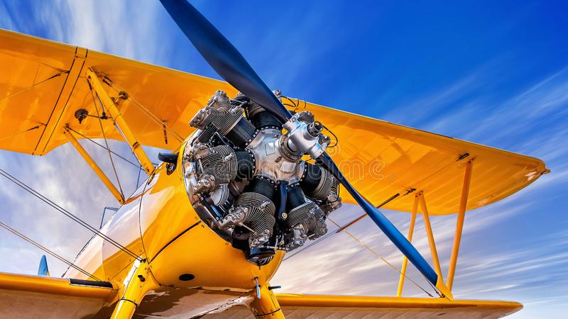 Biplane. Propeller of an historical aircraft royalty free stock photos