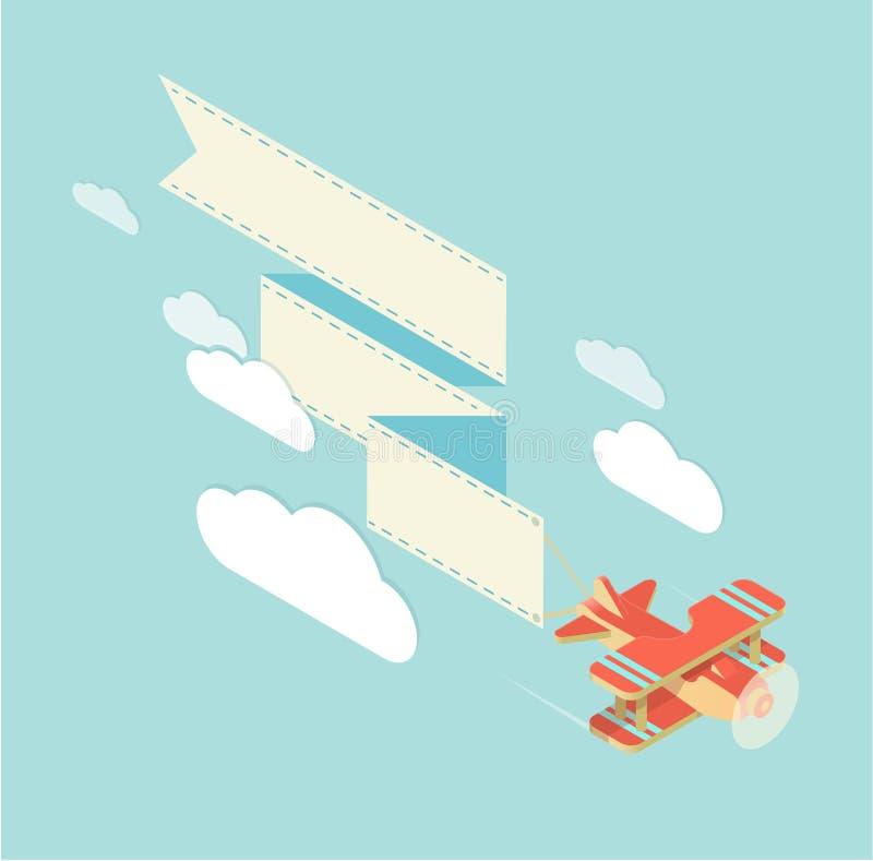 Biplane with ribbon square vector illustration
