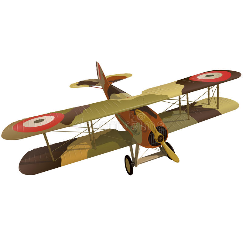 Biplane from World War with military camouflage. Model aircraft propeller. Biplane from World War with military camouflage. Model aircraft propeller with two stock illustration