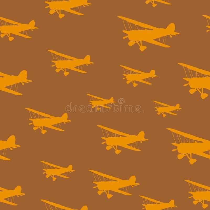 Biplani dell'annata delle mattonelle royalty illustrazione gratis
