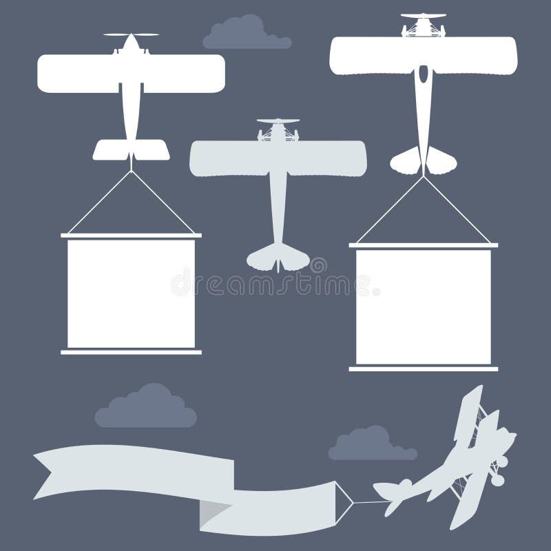 Biplani di volo con l'insegna di saluti illustrazione vettoriale