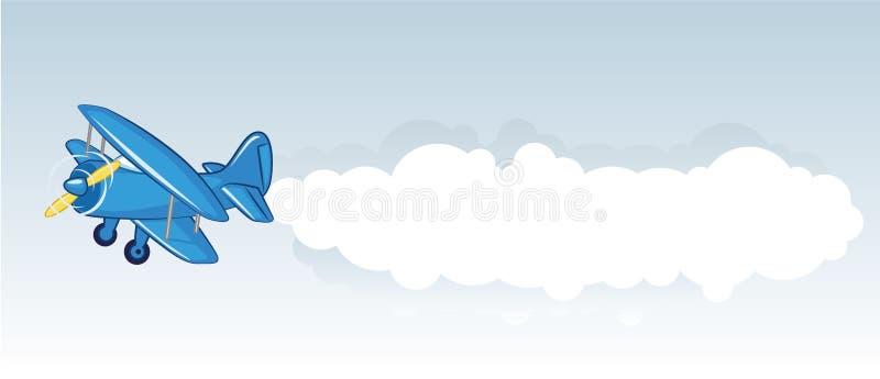 Biplano azul com bandeira ilustração royalty free