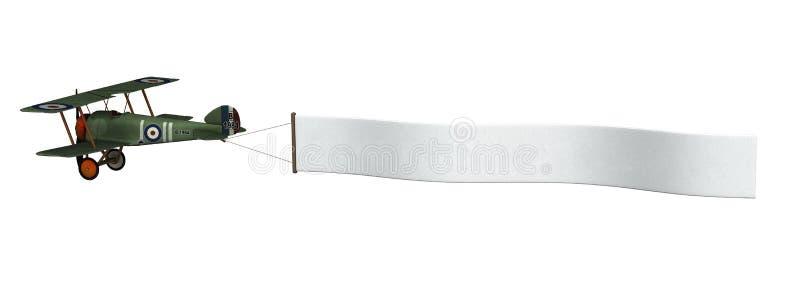Biplano che tira bandiera con il percorso di residuo della potatura meccanica illustrazione vettoriale