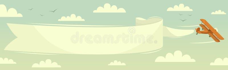 Biplano com bandeira ilustração royalty free