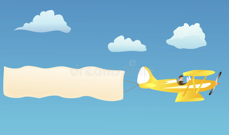 Biplano con la bandiera in bianco illustrazione vettoriale
