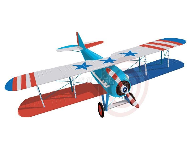 Biplano de la guerra mundial con la bandera del color de Estados Unidos ilustración del vector