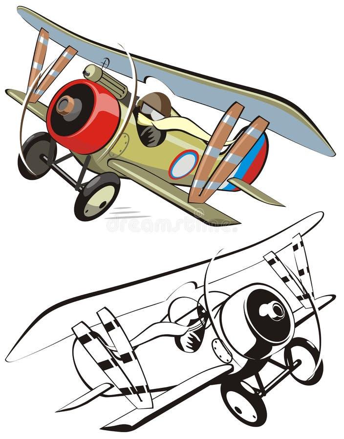 Biplano de la historieta del vector ilustración del vector