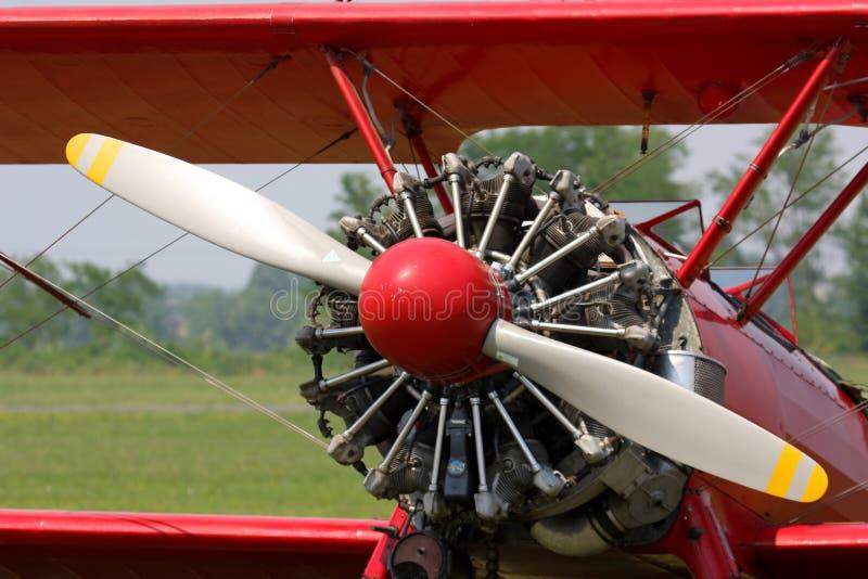 Biplano di colore rosso di Stearman immagini stock libere da diritti