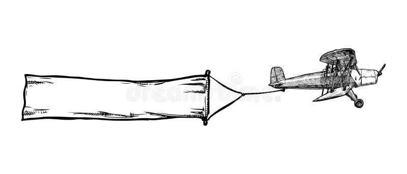 Biplano do vintage com bandeira ilustração do vetor