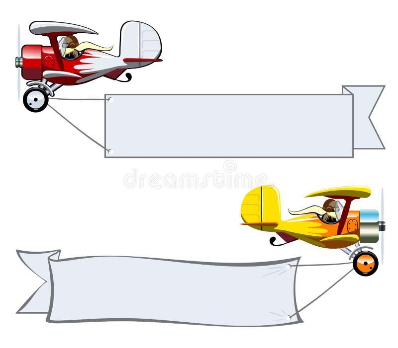 Biplano dos desenhos animados ilustração do vetor