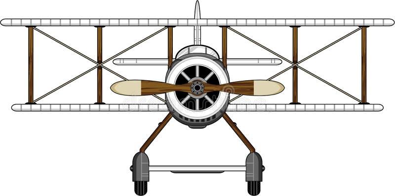 Biplano dos desenhos animados WW1 ilustração royalty free