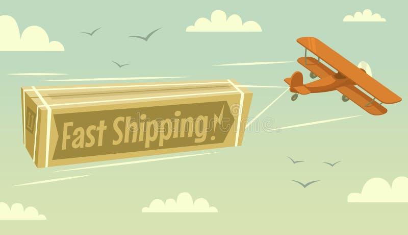 Biplano e trasporto veloce illustrazione di stock