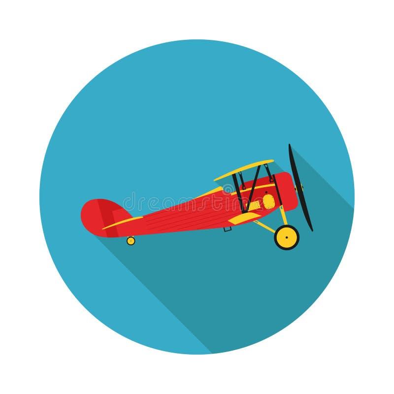 Biplano liso dos aviões do ícone ilustração stock