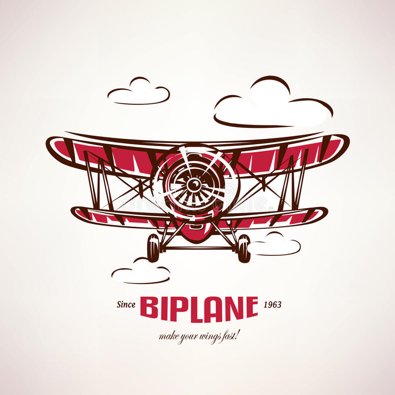 Biplano retro, símbolo del vector del aeroplano del vintage ilustración del vector
