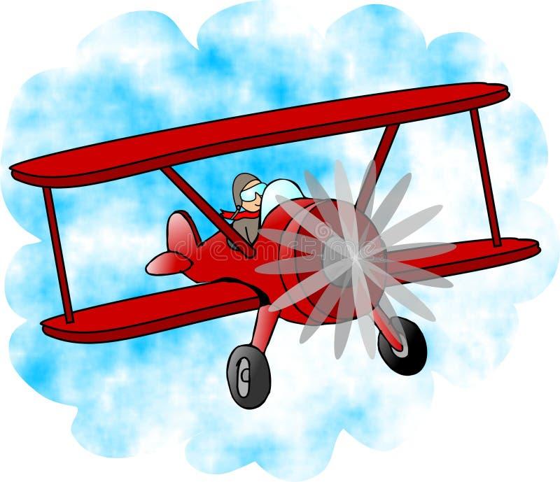 Biplano rosso illustrazione di stock
