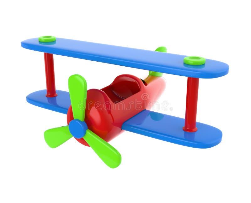 Biplano simples do brinquedo isolado no branco 3d rendem a ilustração fotografia de stock