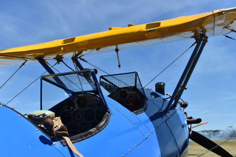 Biplano Stearman PT-17 WWII stock photography