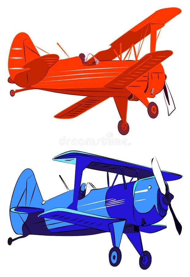 Biplanos rojos y azules stock de ilustración