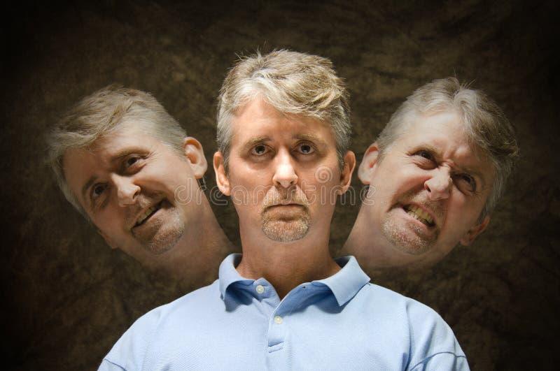 Bipolär sinnessjuk personlighetsklyvning royaltyfria foton