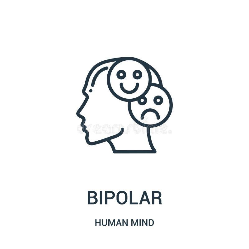 bipolär symbolsvektor från samling för mänsklig mening Tunn linje bipolär illustration för översiktssymbolsvektor Linjärt symbol  vektor illustrationer