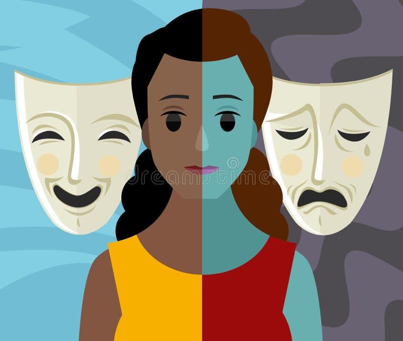 Bipolaire dubbele van de het meisjesvrouw van de persoonlijkheids geestelijke wanorde Afrikaanse het theatermaskers stock illustratie