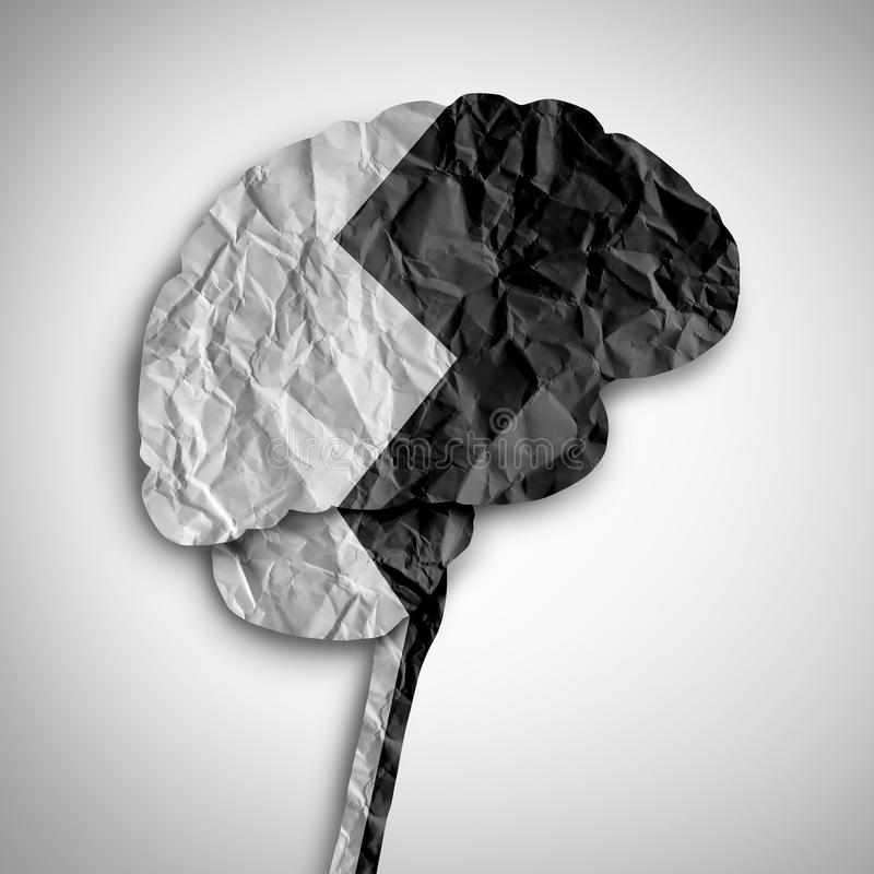 Bipolar Brain Mental Health Symbol. Bipolar brain disorder as a psychological illness concept as a thinking human organ divided in black and white as a medical stock illustration