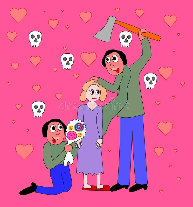 Bipolar disorder - domestic violence. Symbolic picture behavior psychiatrically ill persons in relation - man, woman, bouquet, ax stock illustration