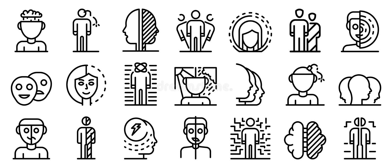 Bipolar disorder icons set, outline style. Bipolar disorder icons set. Outline set of bipolar disorder vector icons for web design isolated on white background stock illustration