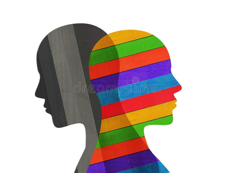 Bipolar disorder mind mental. Split personality. Mood disorder. Dual personality concept. Colored and black. Two faces silhouette in profile that intersect. A vector illustration