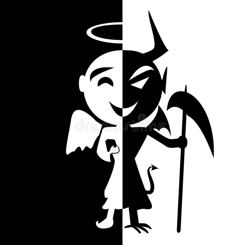 Bipolar disorder.Smile of saint and satan. Angel and Devil in same person, good or evil,fake man vector illustration